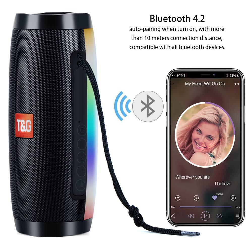 Portable Speakers Bluetooth Column Wireless Bluetooth Speaker Powerful High BoomBox Outdoor Bass HIFI TF FM Radio with LED Light 2
