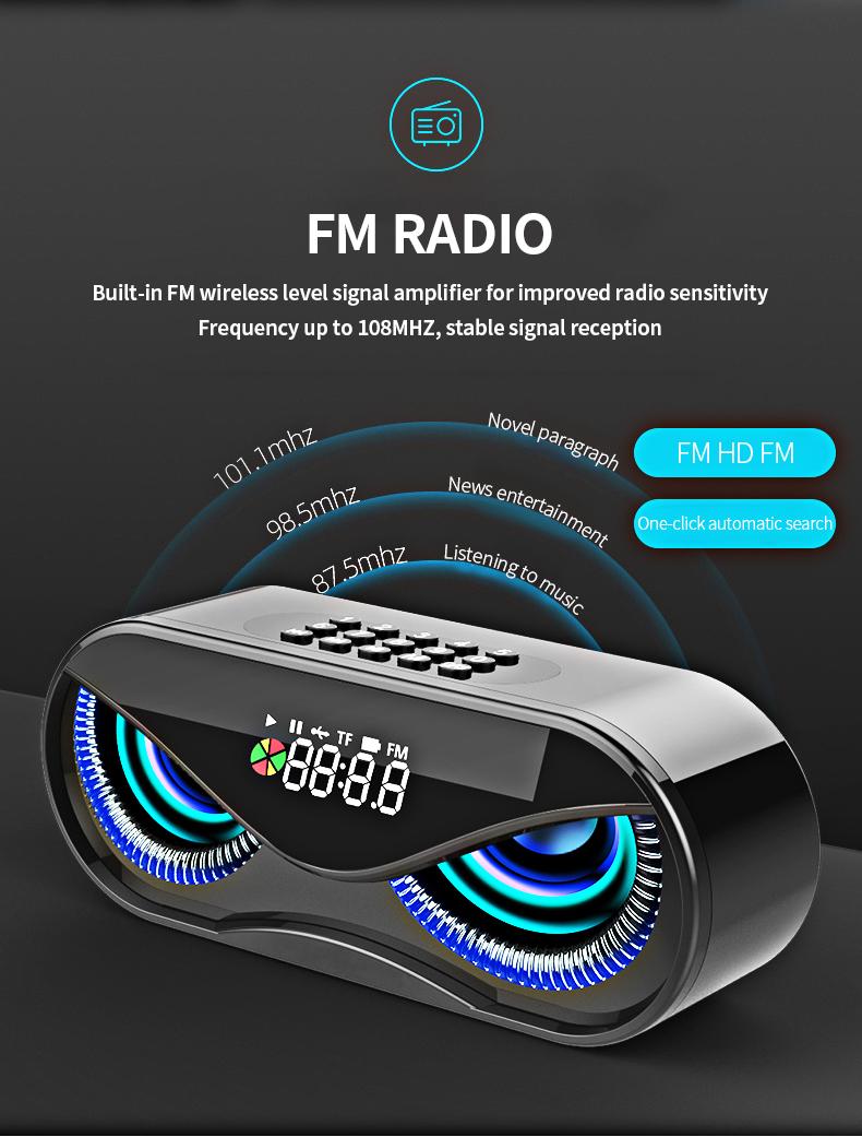 Bluetooth Speaker Cool Owl Design LED Flash Portable Wireless Loudspeaker TF Card FM Radio Alarm Clock TV Bass Smart Display M6 10