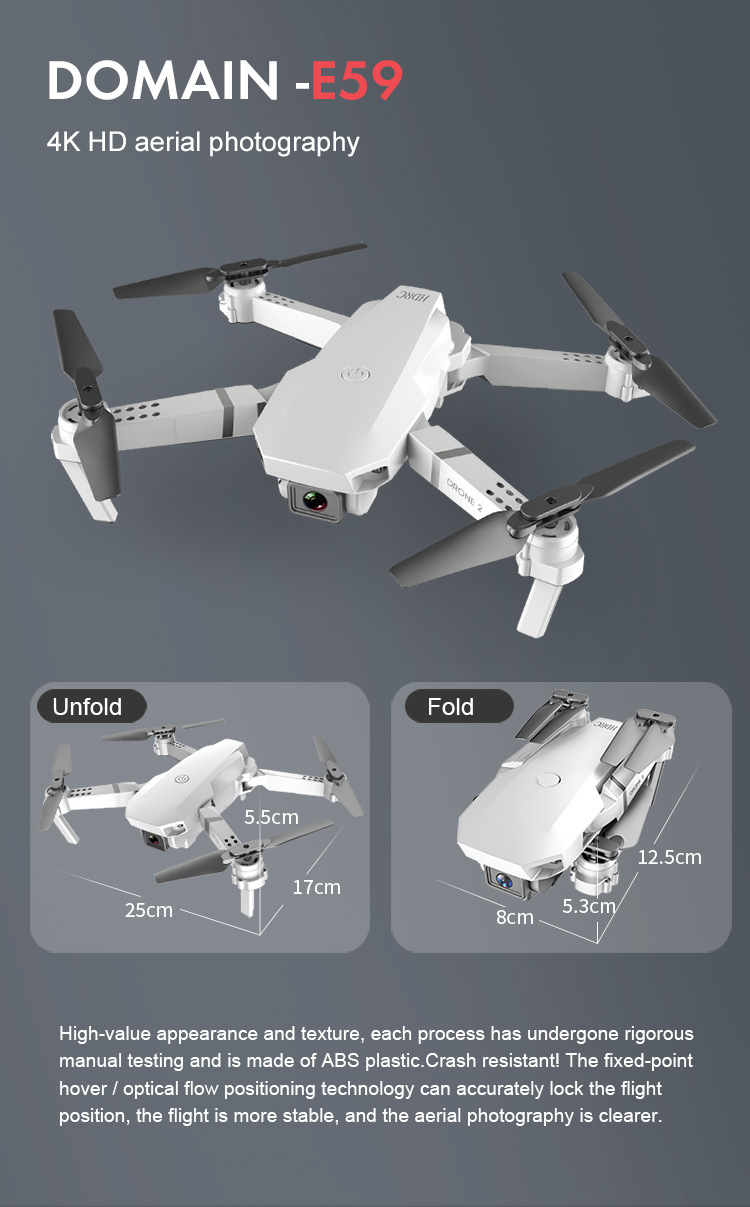 E59 RC Drone 4K HD Camera Professional Aerial Photography Helicopter 360 Degree Flip WIFI Real Time Transmission Quadcopter 4