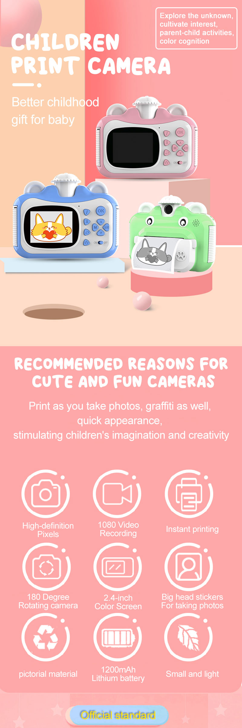 Minibear Children Camera Instant Print Camera For Kids 1080P HD Camera With Thermal Photo Paper Toys Camera For Birthday Gifts 0