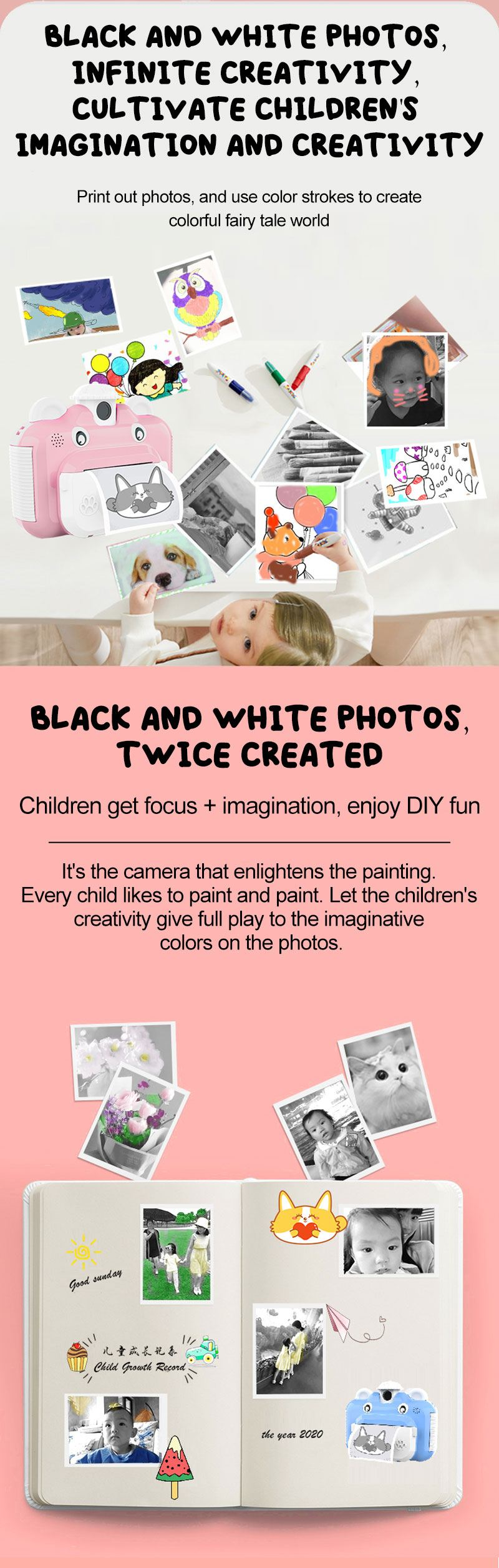 Minibear Children Camera Instant Print Camera For Kids 1080P HD Camera With Thermal Photo Paper Toys Camera For Birthday Gifts 2