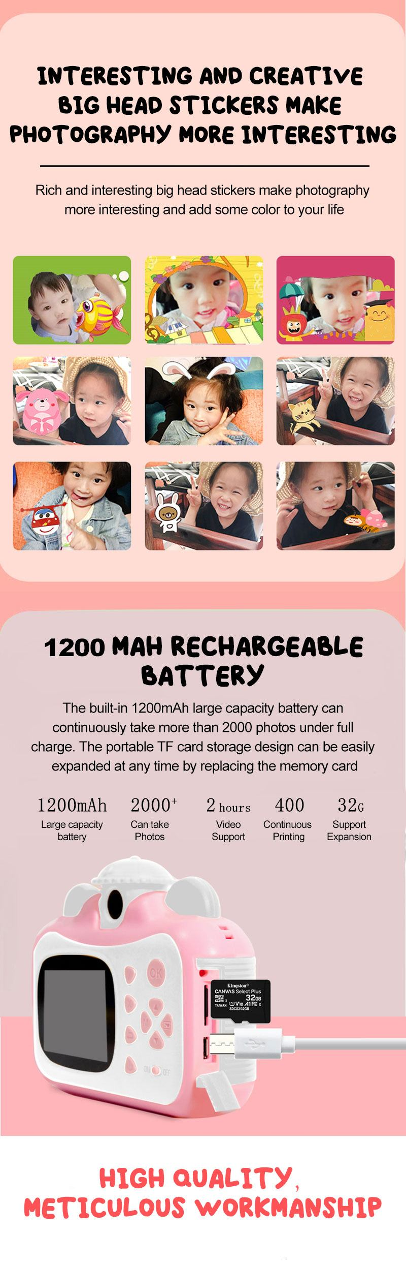 Minibear Children Camera Instant Print Camera For Kids 1080P HD Camera With Thermal Photo Paper Toys Camera For Birthday Gifts 4
