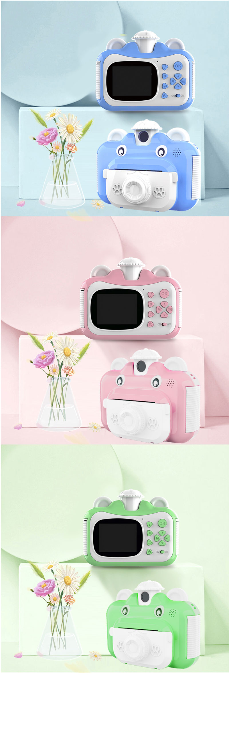 Minibear Children Camera Instant Print Camera For Kids 1080P HD Camera With Thermal Photo Paper Toys Camera For Birthday Gifts 5