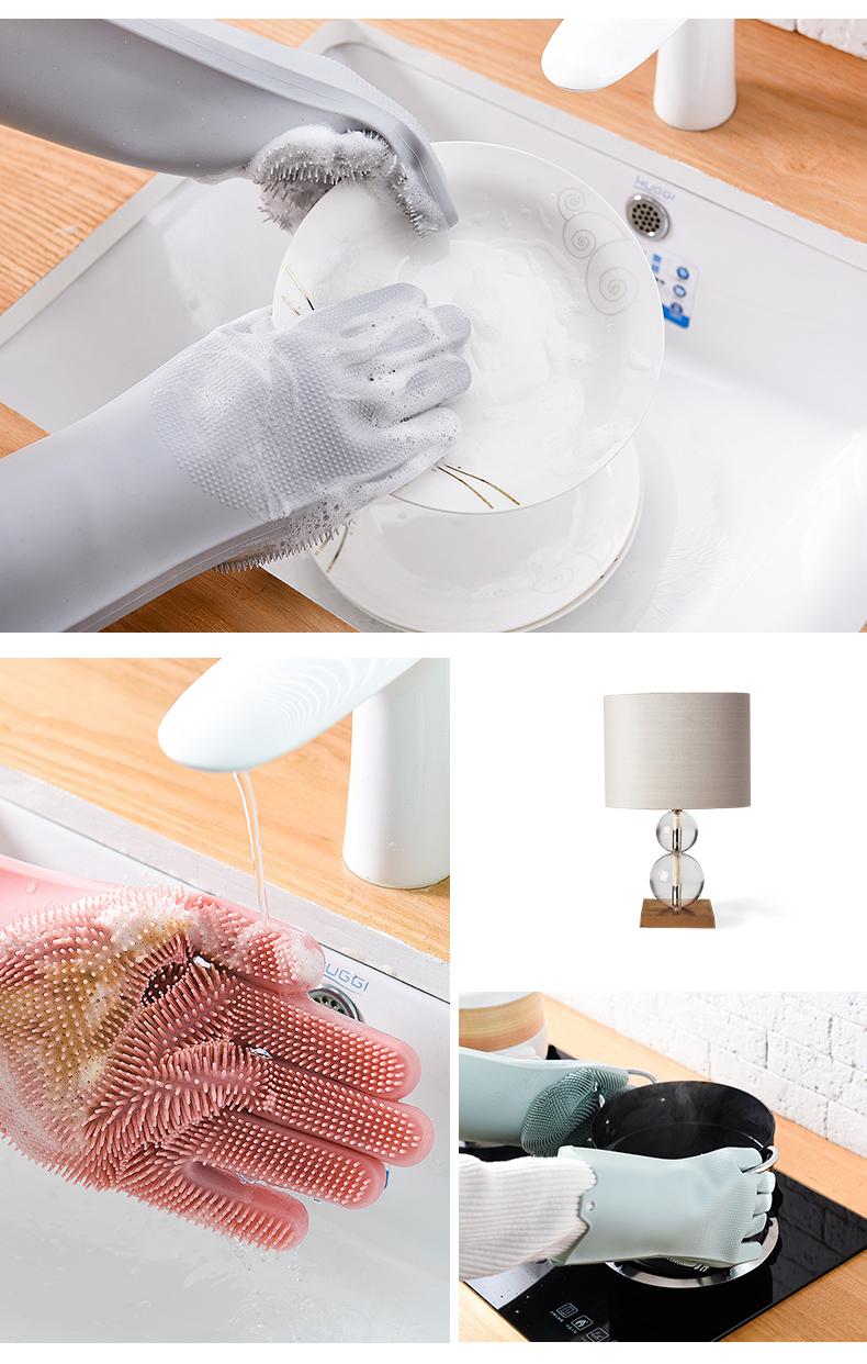 Magic Silicone Dishwashing Scrubber Dish Washing Sponge Rubber Scrub Gloves Kitchen Cleaning 1 Pair 10