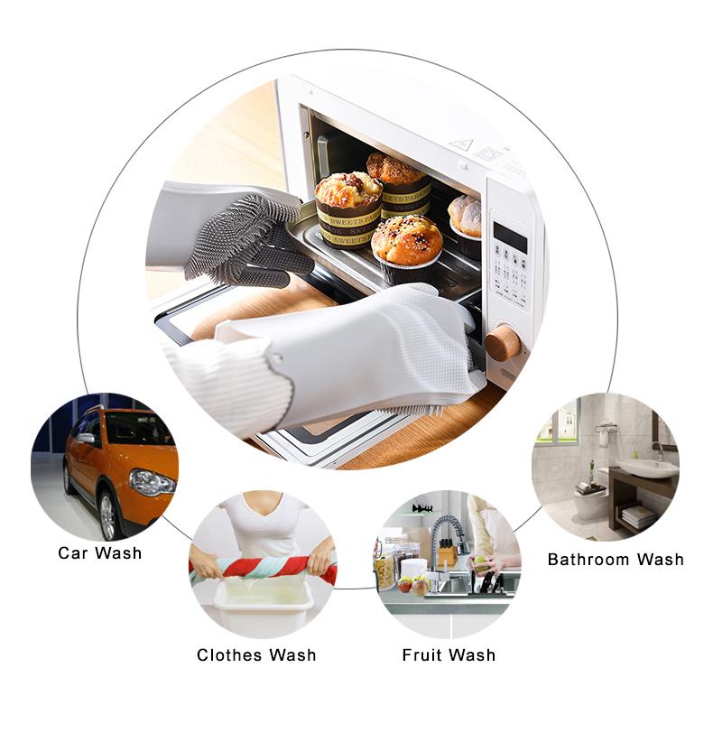 Magic Silicone Dishwashing Scrubber Dish Washing Sponge Rubber Scrub Gloves Kitchen Cleaning 1 Pair 4