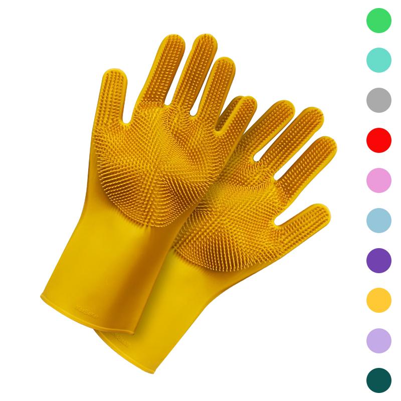 Magic Silicone Dishwashing Scrubber Dish Washing Sponge Rubber Scrub Gloves Kitchen Cleaning 1 Pair 0