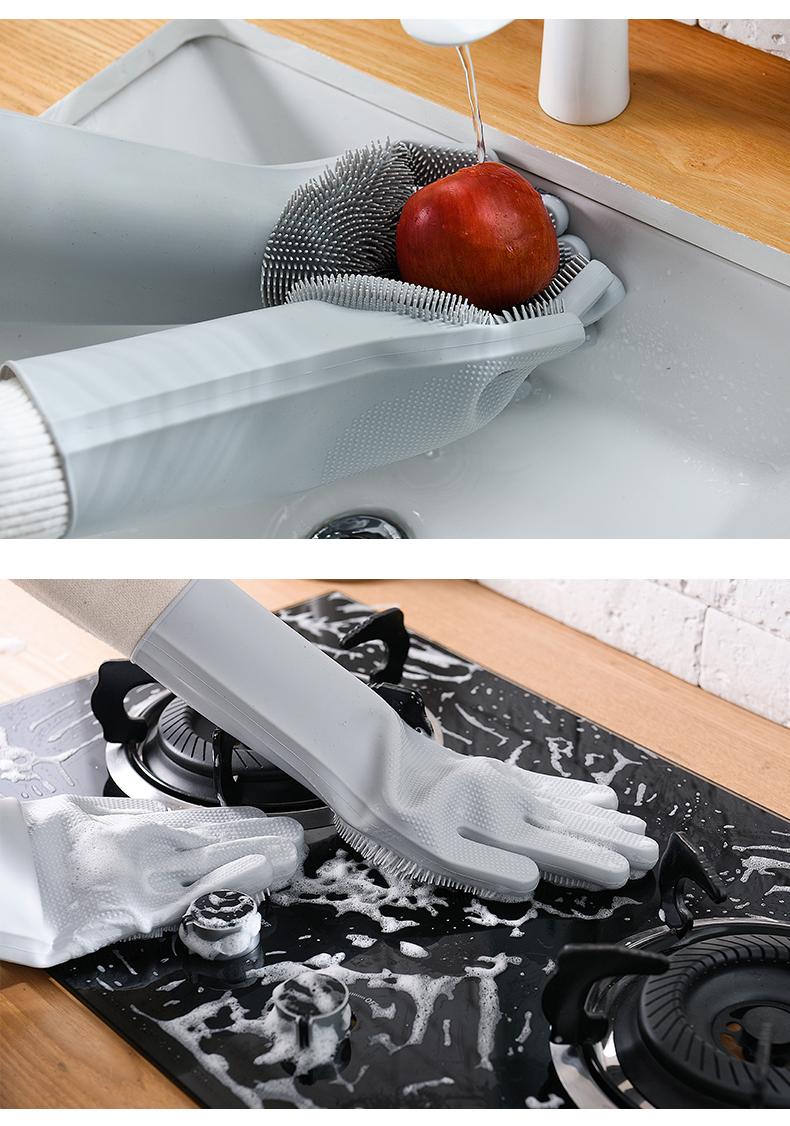 Magic Silicone Dishwashing Scrubber Dish Washing Sponge Rubber Scrub Gloves Kitchen Cleaning 1 Pair 11
