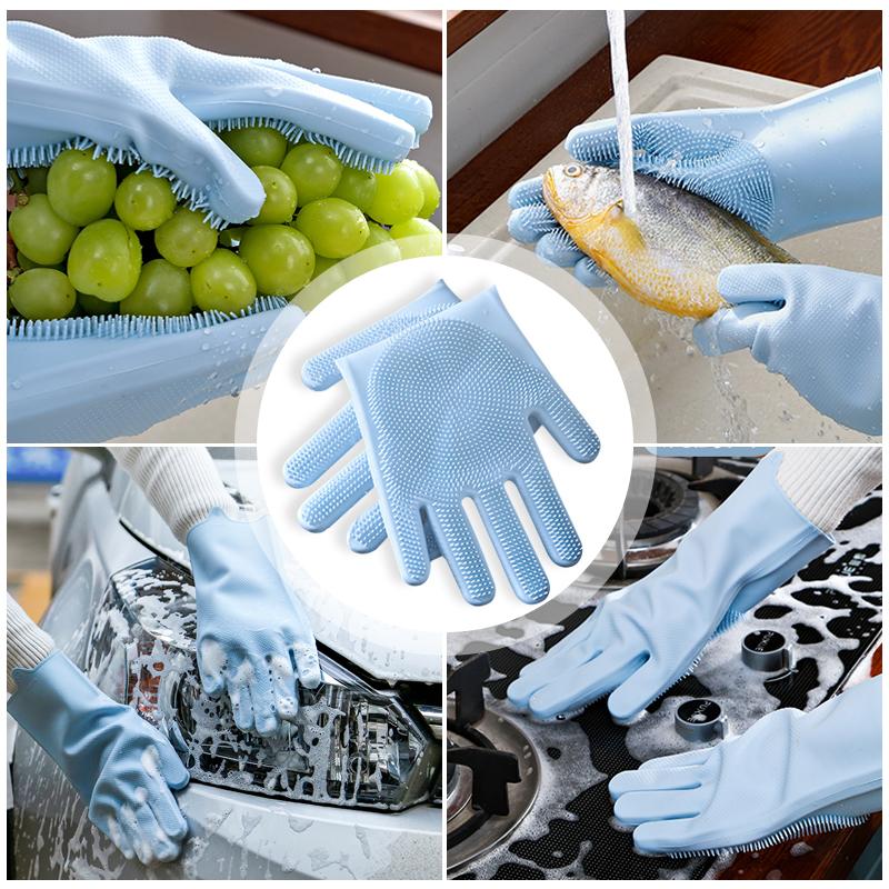 Magic Silicone Dishwashing Scrubber Dish Washing Sponge Rubber Scrub Gloves Kitchen Cleaning 1 Pair 1