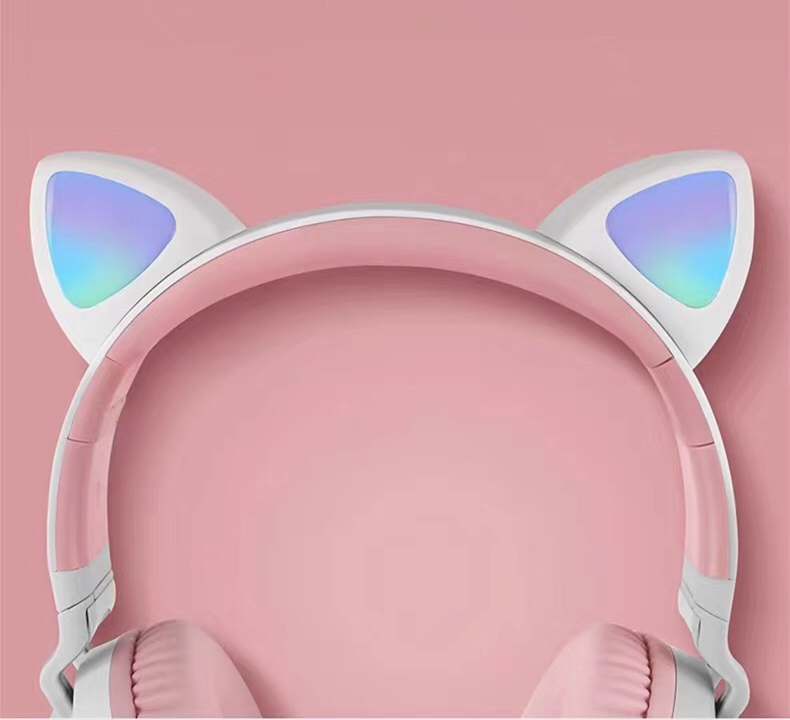 New Arrival LED Cat Ear Noise Cancelling Headphones Bluetooth 5.0 Young People Kids Headset Support TF Card 3.5mm Plug With Mic 0