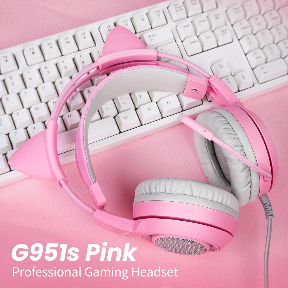 SOMIC Wired Headset Gamer Pink Cat Ear Headset Cute PS4 Phone PC With Microphone 3.5mm Gaming Phone PS4 Overear Gamer G951s Pink 1