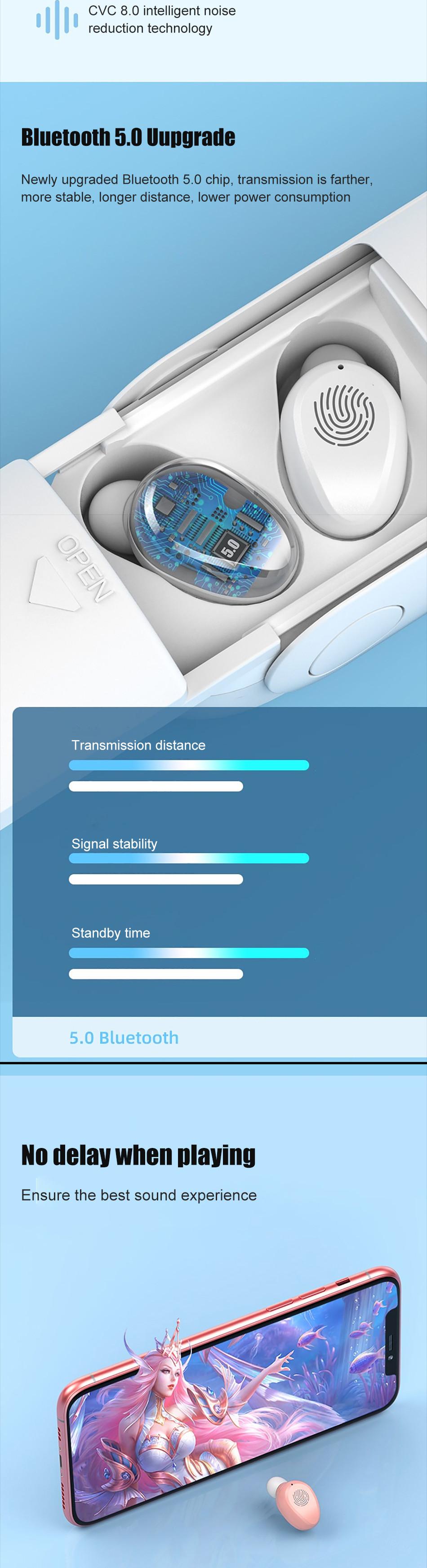 2020 New Arrival F7 Wireless Headphones TWS Sport Bluetooth 5.0 Earphones In-ear 9D Noise Reduction HiFi IPX5 Waterproof Headset 7