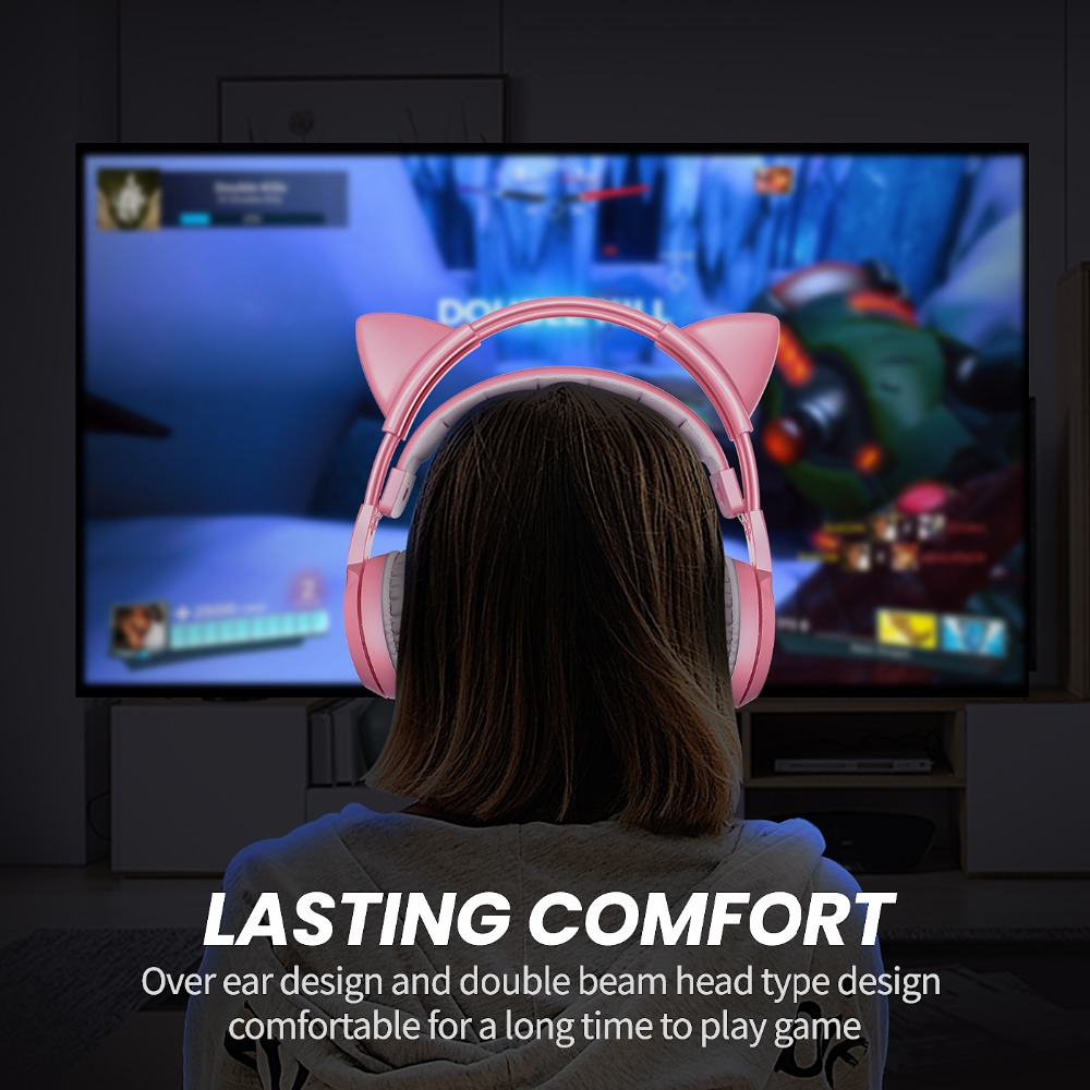 SOMIC Wired Headset Gamer Pink Cat Ear Headset Cute PS4 Phone PC With Microphone 3.5mm Gaming Phone PS4 Overear Gamer G951s Pink 3