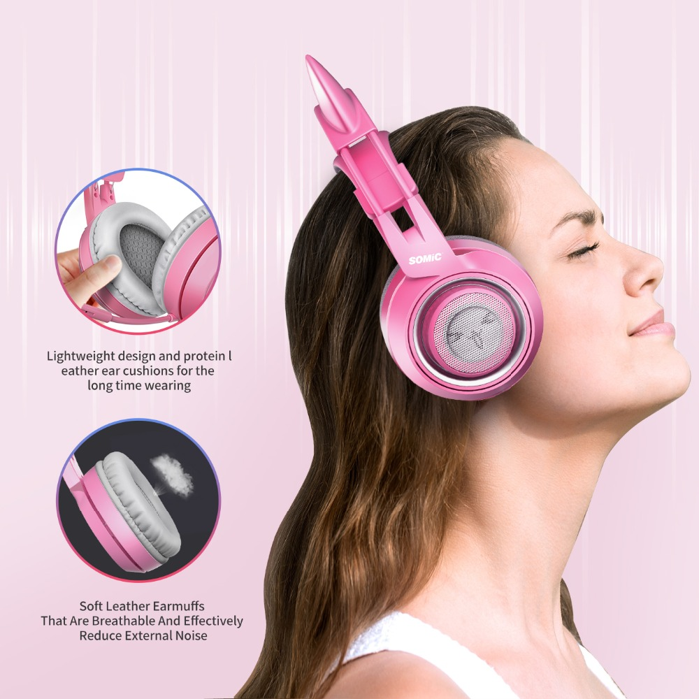 SOMIC Wired Headset Gamer Pink Cat Ear Headset Cute PS4 Phone PC With Microphone 3.5mm Gaming Phone PS4 Overear Gamer G951s Pink 4