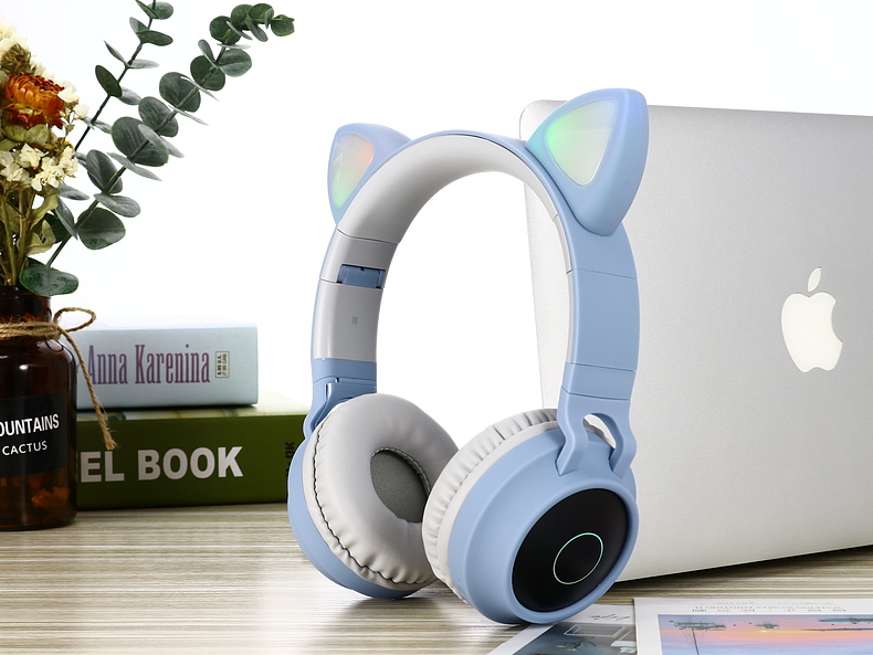 New Arrival LED Cat Ear Noise Cancelling Headphones Bluetooth 5.0 Young People Kids Headset Support TF Card 3.5mm Plug With Mic 5