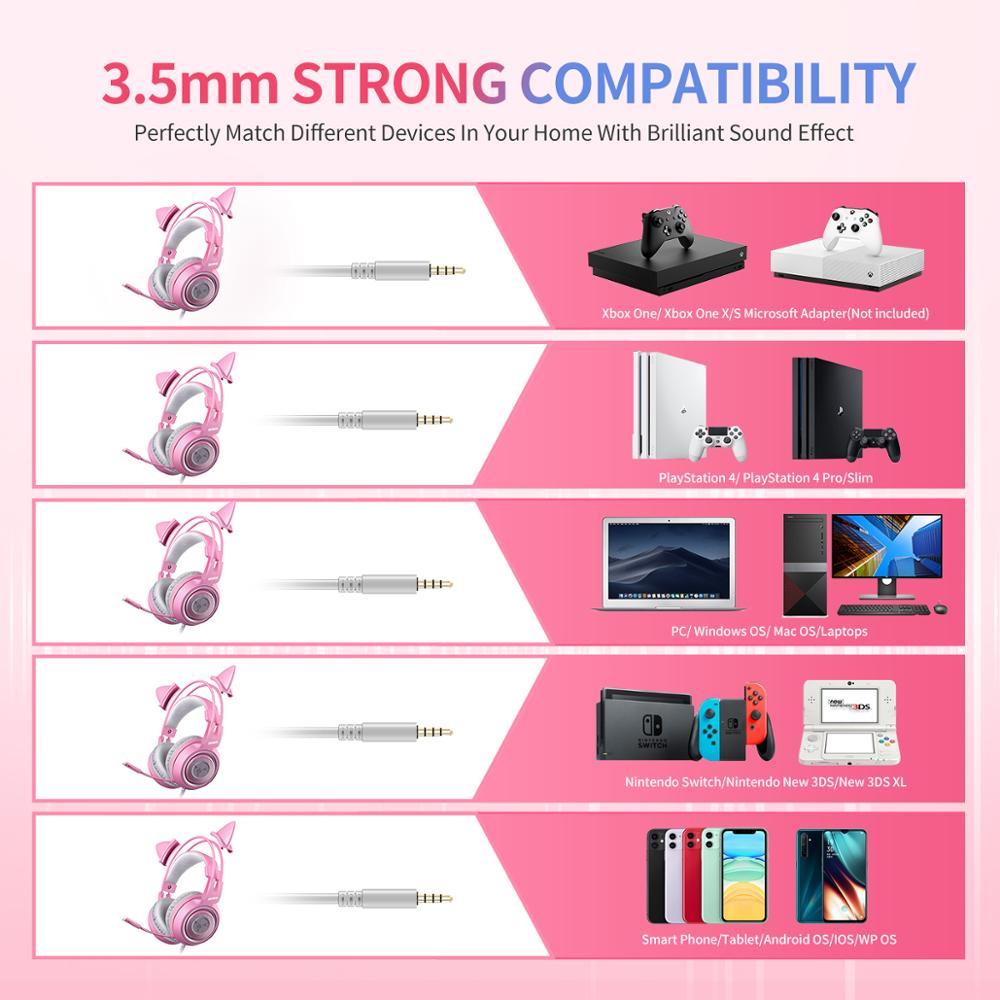 SOMIC Wired Headset Gamer Pink Cat Ear Headset Cute PS4 Phone PC With Microphone 3.5mm Gaming Phone PS4 Overear Gamer G951s Pink 7
