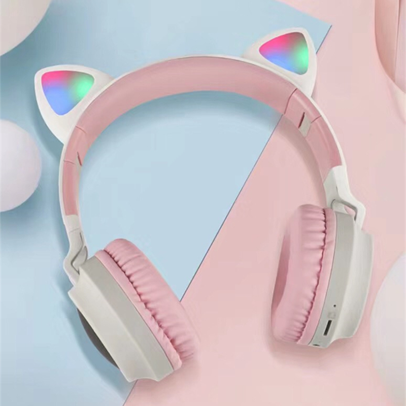 New Arrival LED Cat Ear Noise Cancelling Headphones Bluetooth 5.0 Young People Kids Headset Support TF Card 3.5mm Plug With Mic 1