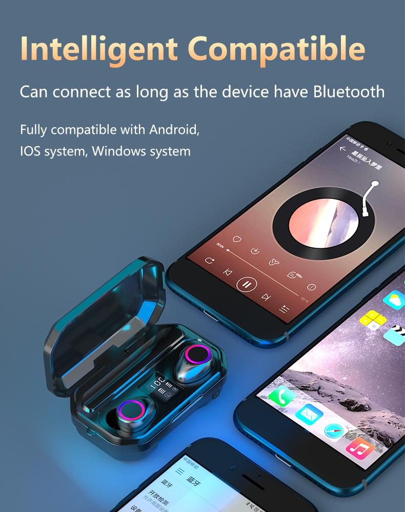 3500mAh Bluetooth Earphones Wireless Headphones Touch Control LED With Microphone Sport Waterproof Headsets Earbuds Earphone 14
