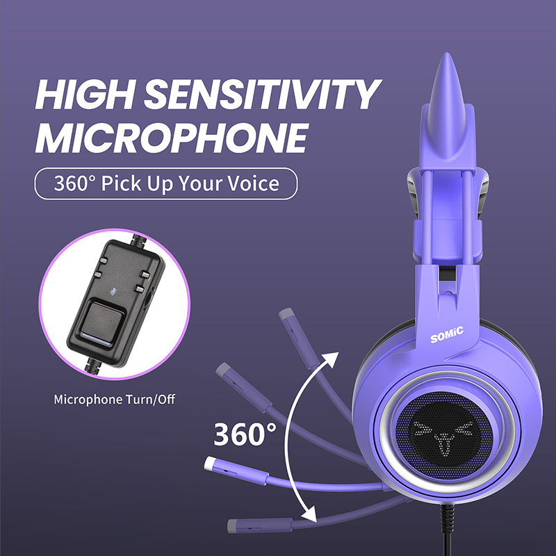 SOMIC Gaming Headset with Mic G951S Purple Stereo for PS4 PC Phone Detachable Cat Ear Headphone 3.5MM Noise Reduction Women Gift 3