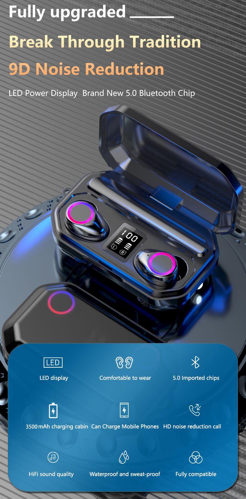 3500mAh Bluetooth Earphones Wireless Headphones Touch Control LED With Microphone Sport Waterproof Headsets Earbuds Earphone 0