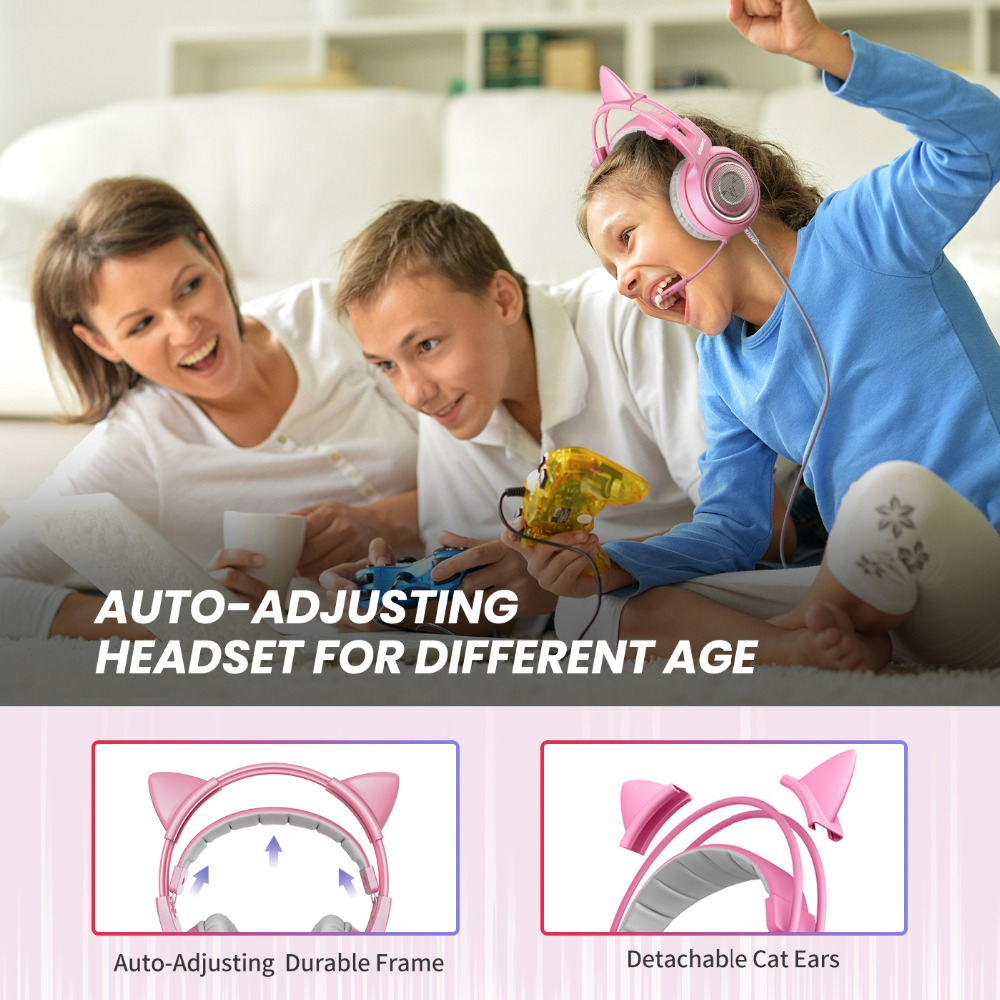 SOMIC Wired Headset Gamer Pink Cat Ear Headset Cute PS4 Phone PC With Microphone 3.5mm Gaming Phone PS4 Overear Gamer G951s Pink 5