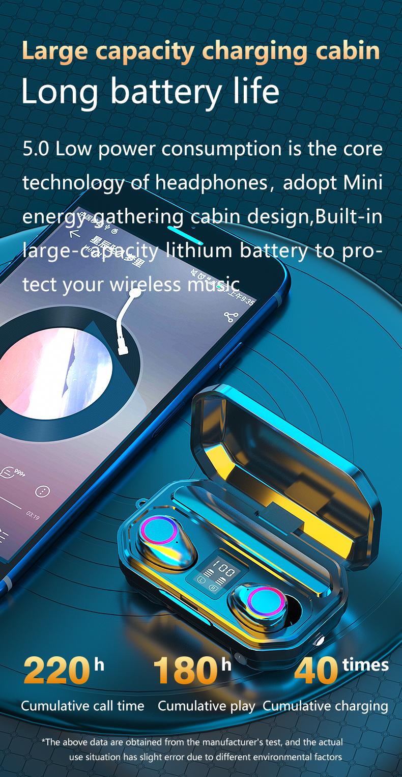 3500mAh Bluetooth Earphones Wireless Headphones Touch Control LED With Microphone Sport Waterproof Headsets Earbuds Earphone 4