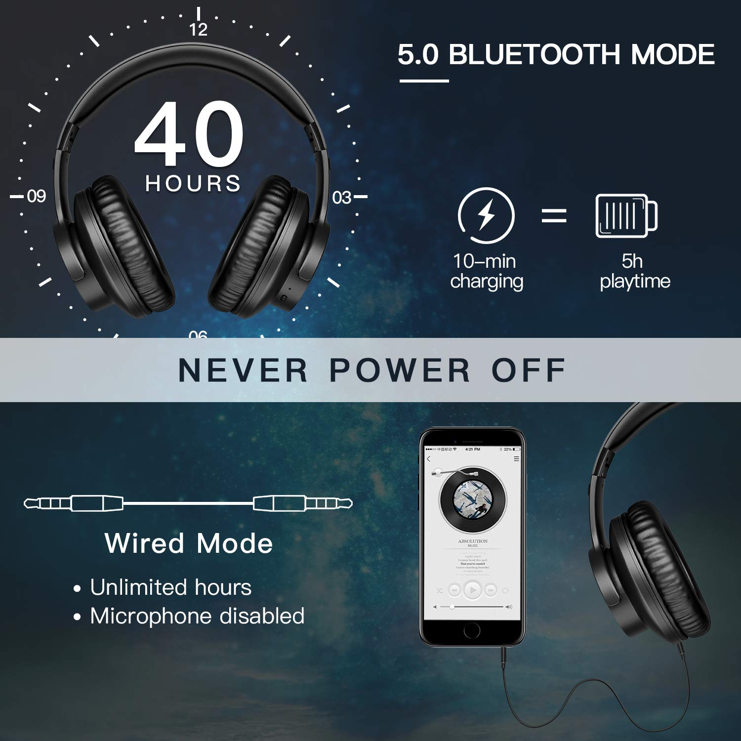 B8 Bluetooth 5.0 Headphones 40H Play time Touch Control Wireless Headphone with Mic Over Ear Earphone TF Headset for phone PC 4