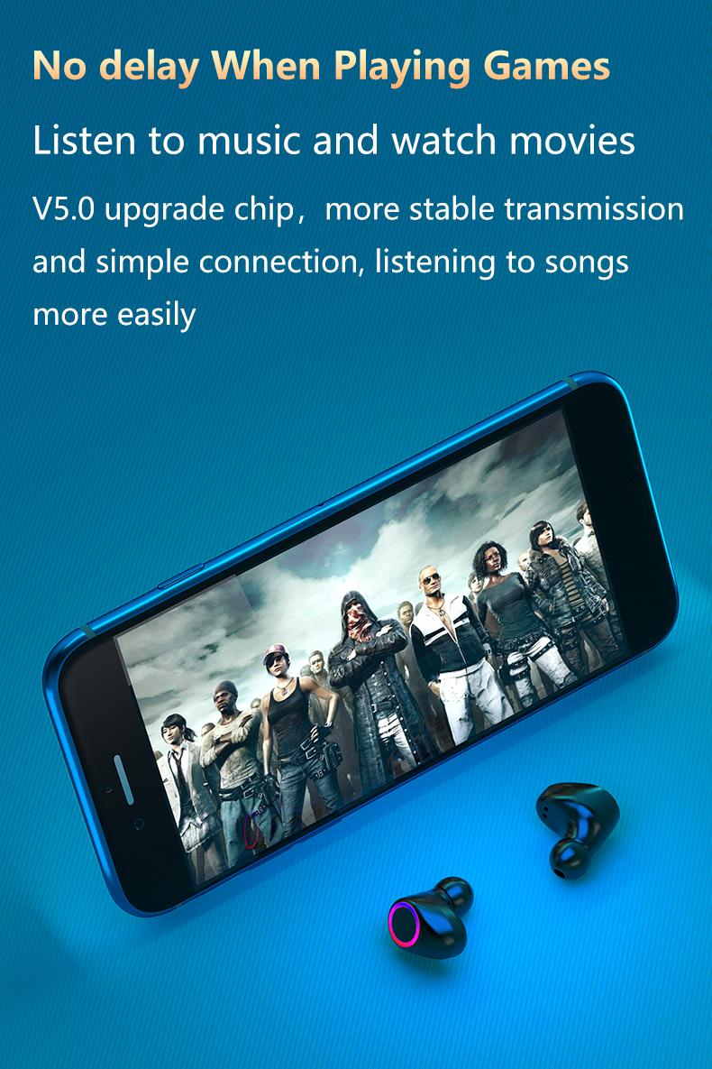 3500mAh Bluetooth Earphones Wireless Headphones Touch Control LED With Microphone Sport Waterproof Headsets Earbuds Earphone 11