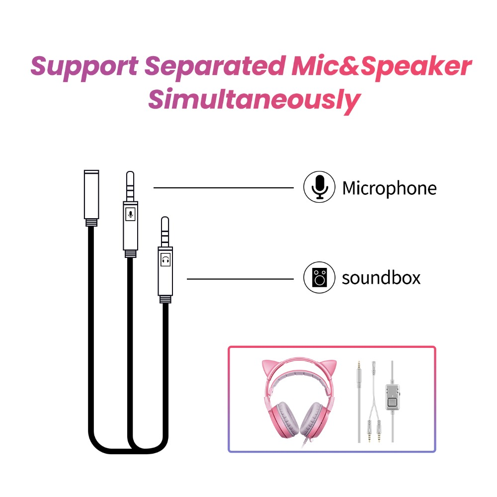 SOMIC Wired Headset Gamer Pink Cat Ear Headset Cute PS4 Phone PC With Microphone 3.5mm Gaming Phone PS4 Overear Gamer G951s Pink 12