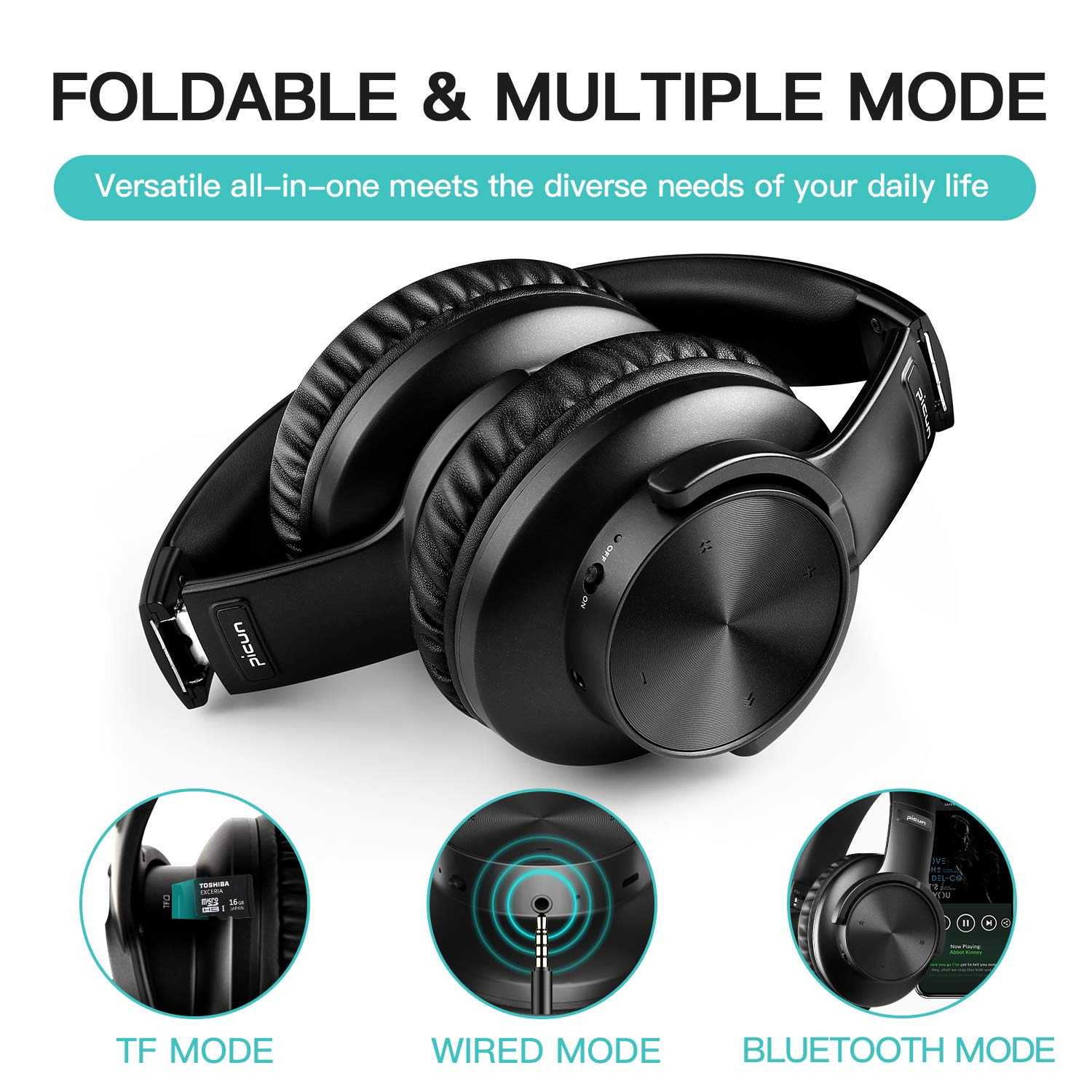 B8 Bluetooth 5.0 Headphones 40H Play time Touch Control Wireless Headphone with Mic Over Ear Earphone TF Headset for phone PC 5