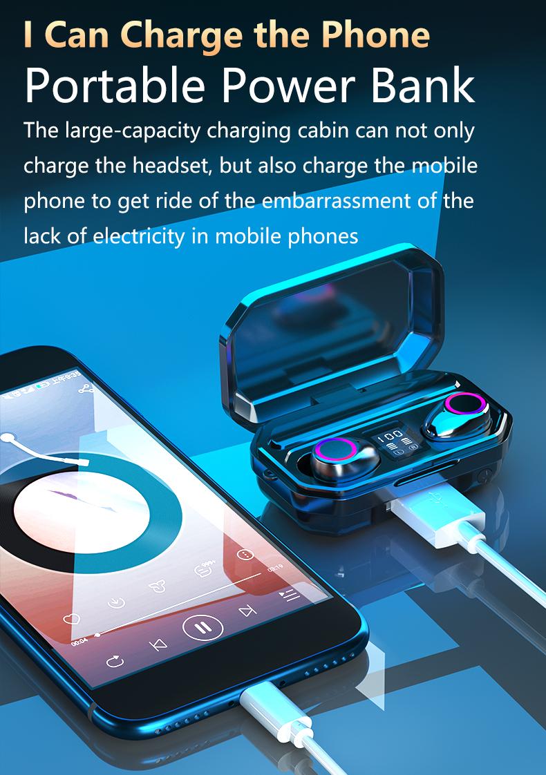 3500mAh Bluetooth Earphones Wireless Headphones Touch Control LED With Microphone Sport Waterproof Headsets Earbuds Earphone 5