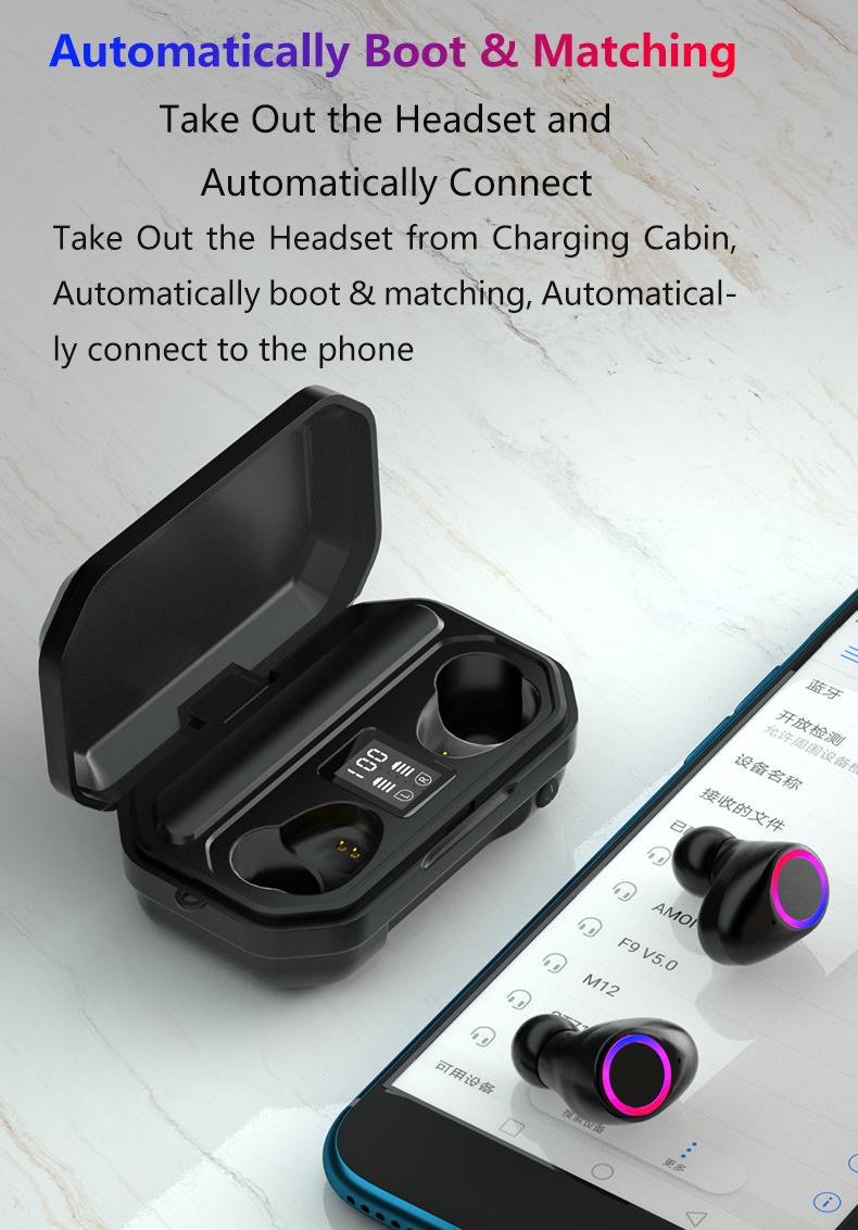 3500mAh Bluetooth Earphones Wireless Headphones Touch Control LED With Microphone Sport Waterproof Headsets Earbuds Earphone 3