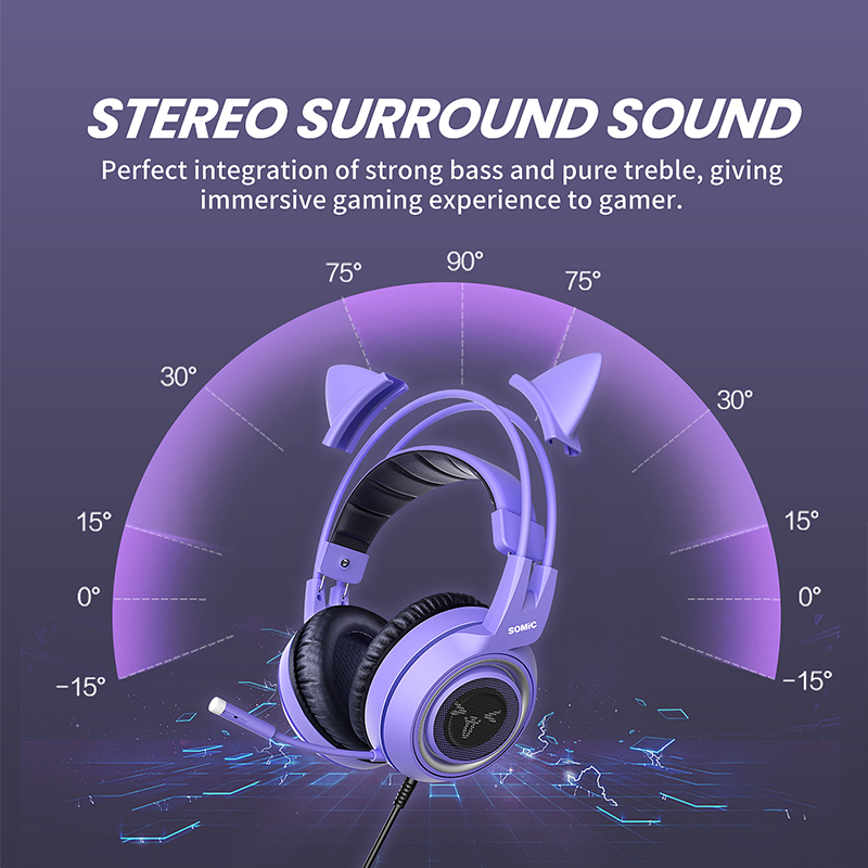SOMIC Gaming Headset with Mic G951S Purple Stereo for PS4 PC Phone Detachable Cat Ear Headphone 3.5MM Noise Reduction Women Gift 1