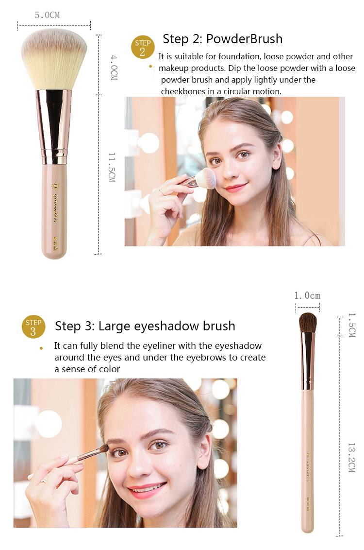 Makeup Brush Tool Set Cosmetic Powder Eye Shadow Foundation Blush Blending Beauty Make Up Brush with Makeup Brush Holders 7