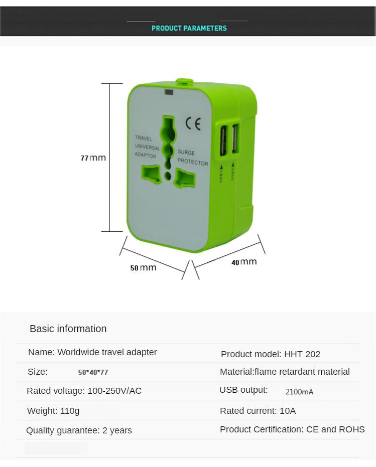 Universal Travel Adapter Auto Resetting Fuse 10A 2 USB Worldwide International Plug Socket/Adaptor Wall Charger for UK/EU/AU/US 3