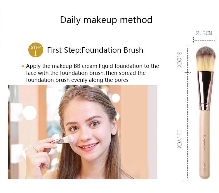 Makeup Brush Tool Set Cosmetic Powder Eye Shadow Foundation Blush Blending Beauty Make Up Brush with Makeup Brush Holders 6