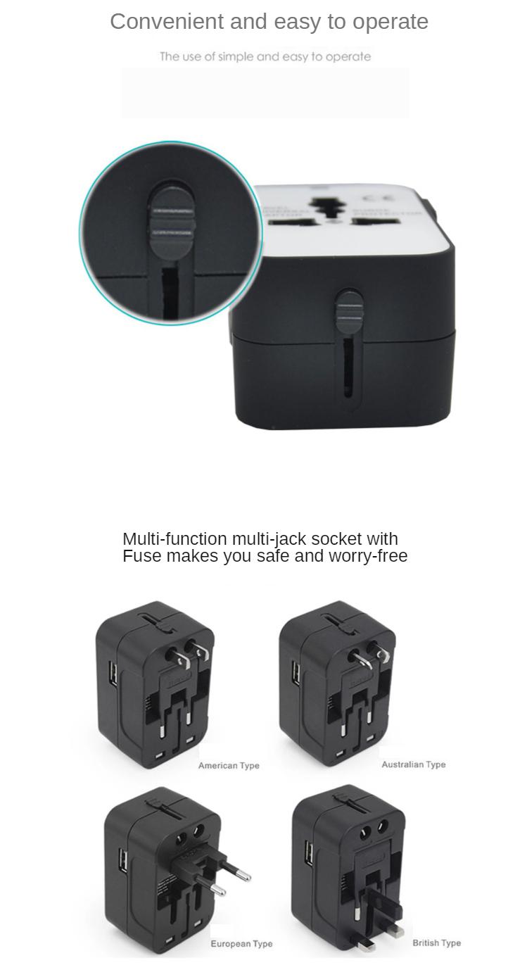 Universal Travel Adapter Auto Resetting Fuse 10A 2 USB Worldwide International Plug Socket/Adaptor Wall Charger for UK/EU/AU/US 2