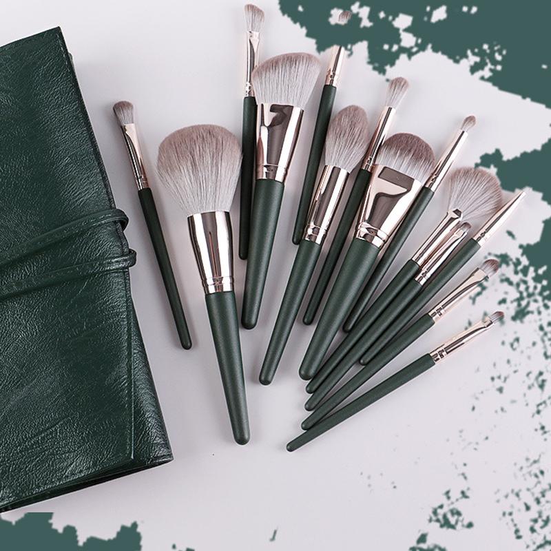 14Pcs Makeup Brushes Set Cosmetic Foundation Powder Blush Eye Shadow Lip Blend Wooden Make Up Brush Tool Kit Maquiagem 0