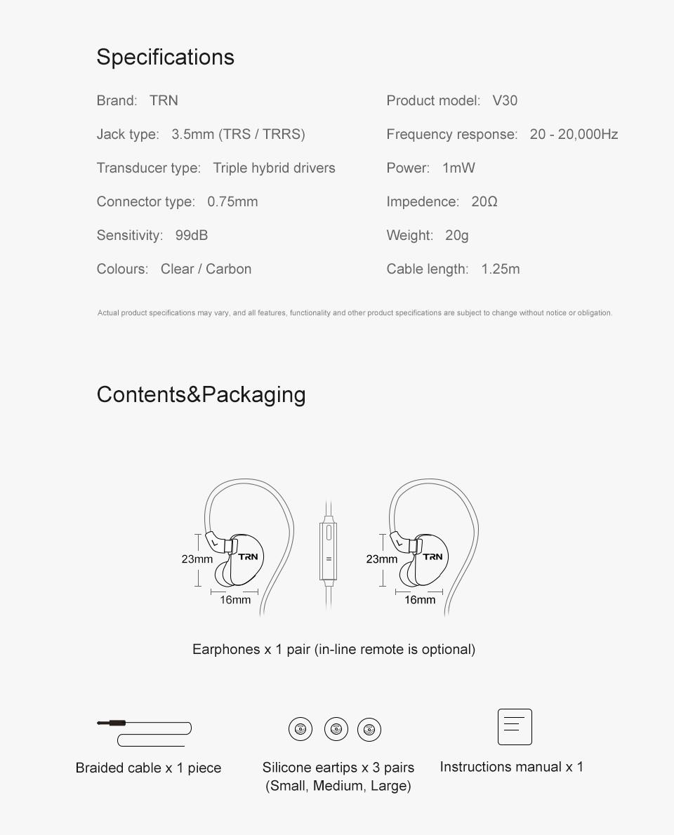 TRN V30 2BA+1DD Hybrid Earphone DJ IEM Monito Sport Earphone 3 Drive Earplug Headset 2Pin Detachable Trn HIFI Earphone 16