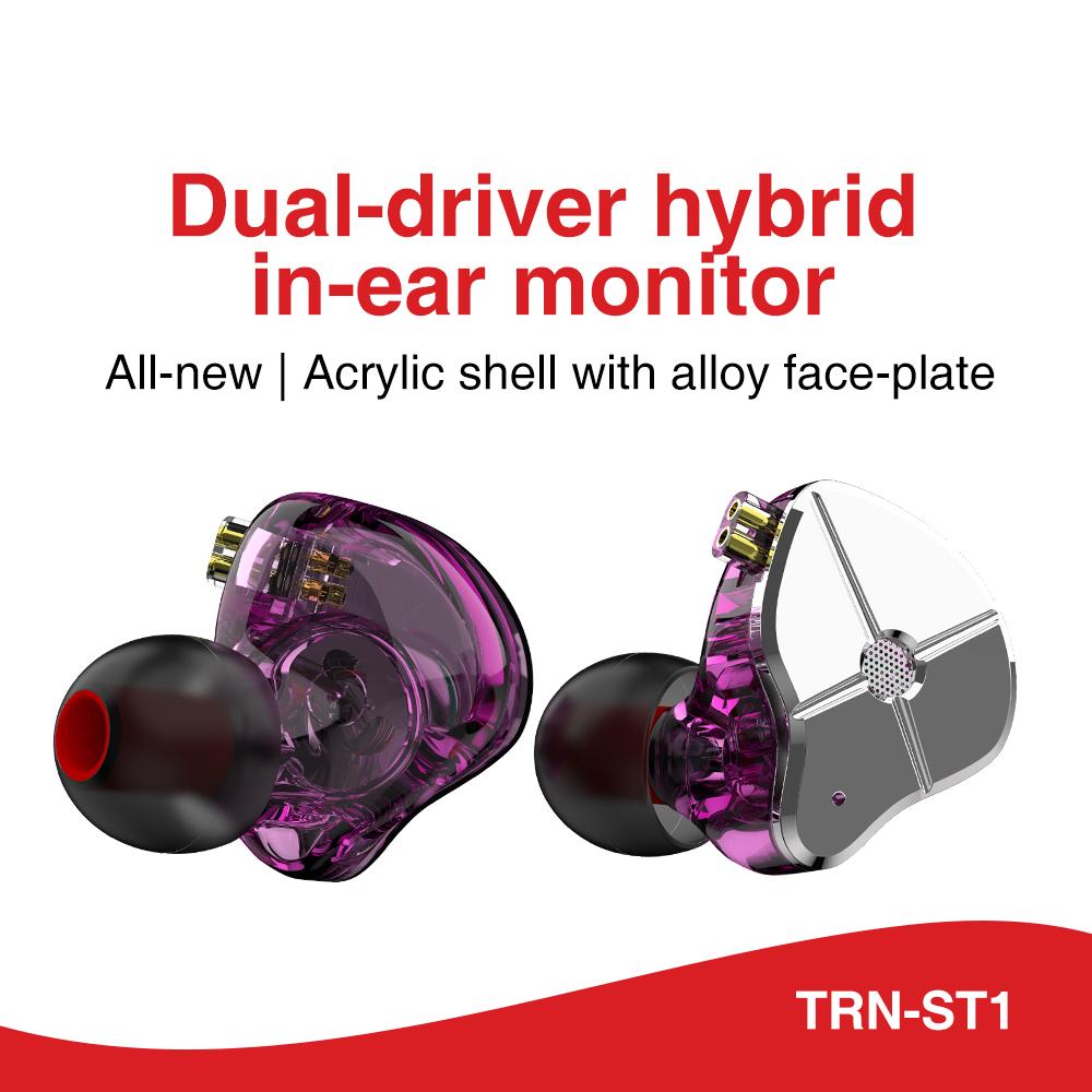 TRN ST1 1DD 1BA Hybrid In Ear Earphone HIFI DJ Monitor Running Sport Earphone Earplug Headset With QDC Cable TRN V90 BA5 0