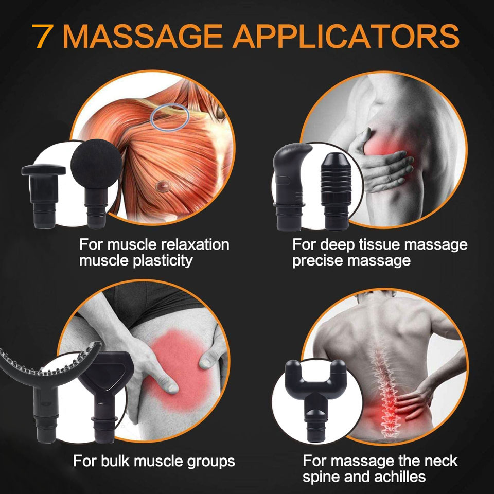 7 Heads & 30 Speeds Handheld Muscle Massage Gun Percussive Deep Tissue Massage Gun Body Neck Pain Massager Fascia Gun 2