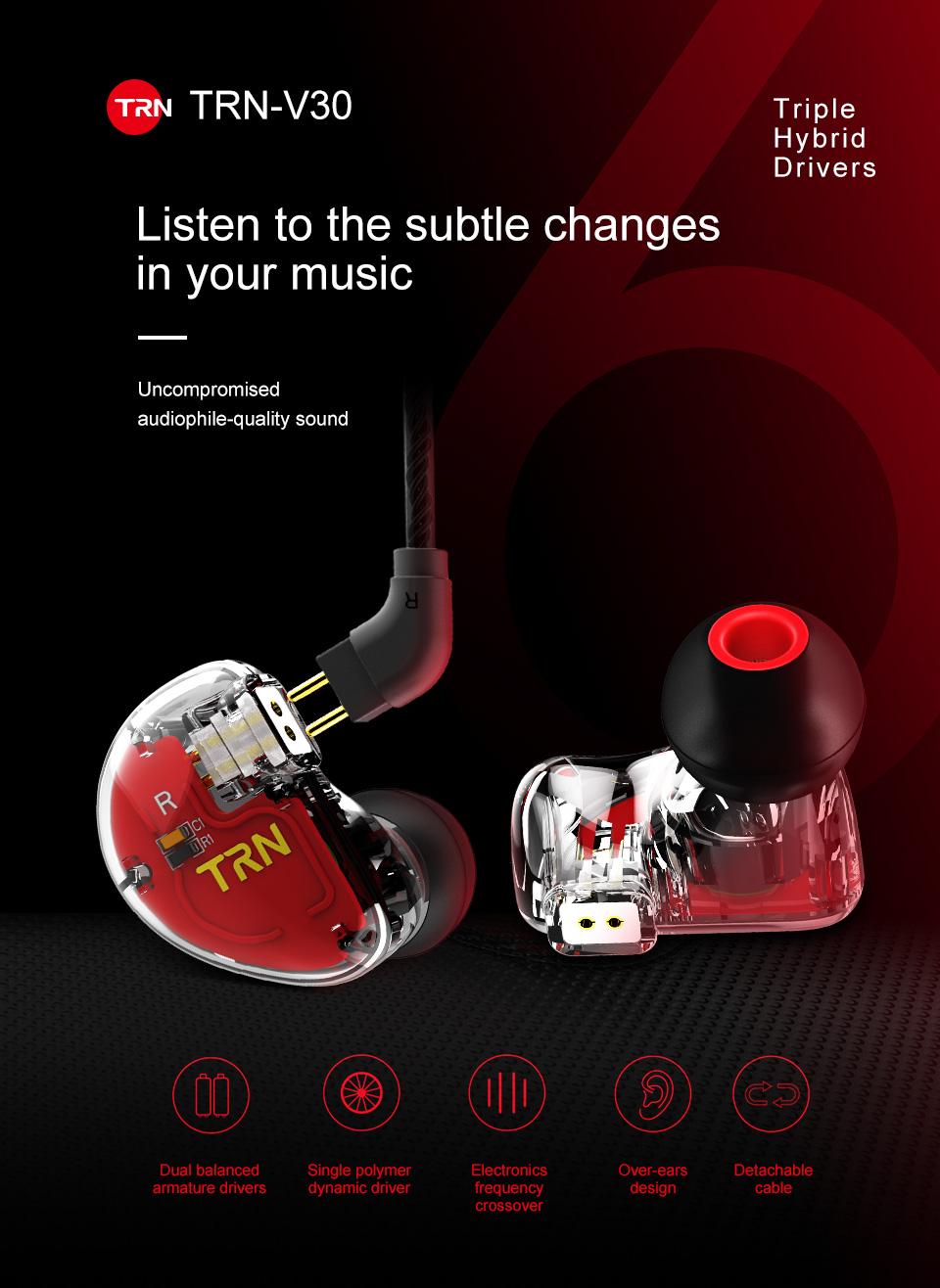 TRN V30 2BA+1DD Hybrid Earphone DJ IEM Monito Sport Earphone 3 Drive Earplug Headset 2Pin Detachable Trn HIFI Earphone 0