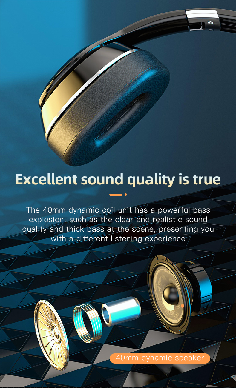 HiFi Wireless Headphones Bluetooth Foldable Headset Support TF Card/FM Radio/Bluetooth AUX Stereo Headset With Mic Deep Bass 3