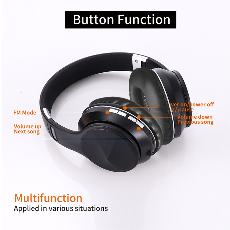 Bluetooth 5.0 Wireless Headphone Foldable Stereo High Quality Sound Bluetooth Sport Headset Support TF Card FM Radio AUX Mode 5