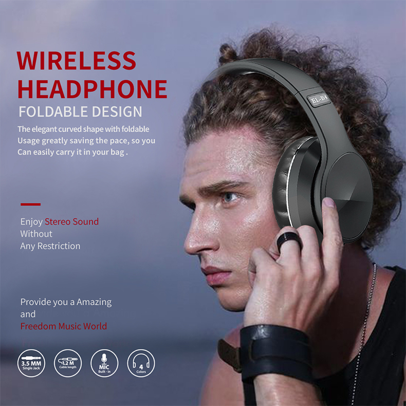 Bluetooth 5.0 Wireless Headphone Foldable Stereo High Quality Sound Bluetooth Sport Headset Support TF Card FM Radio AUX Mode 4