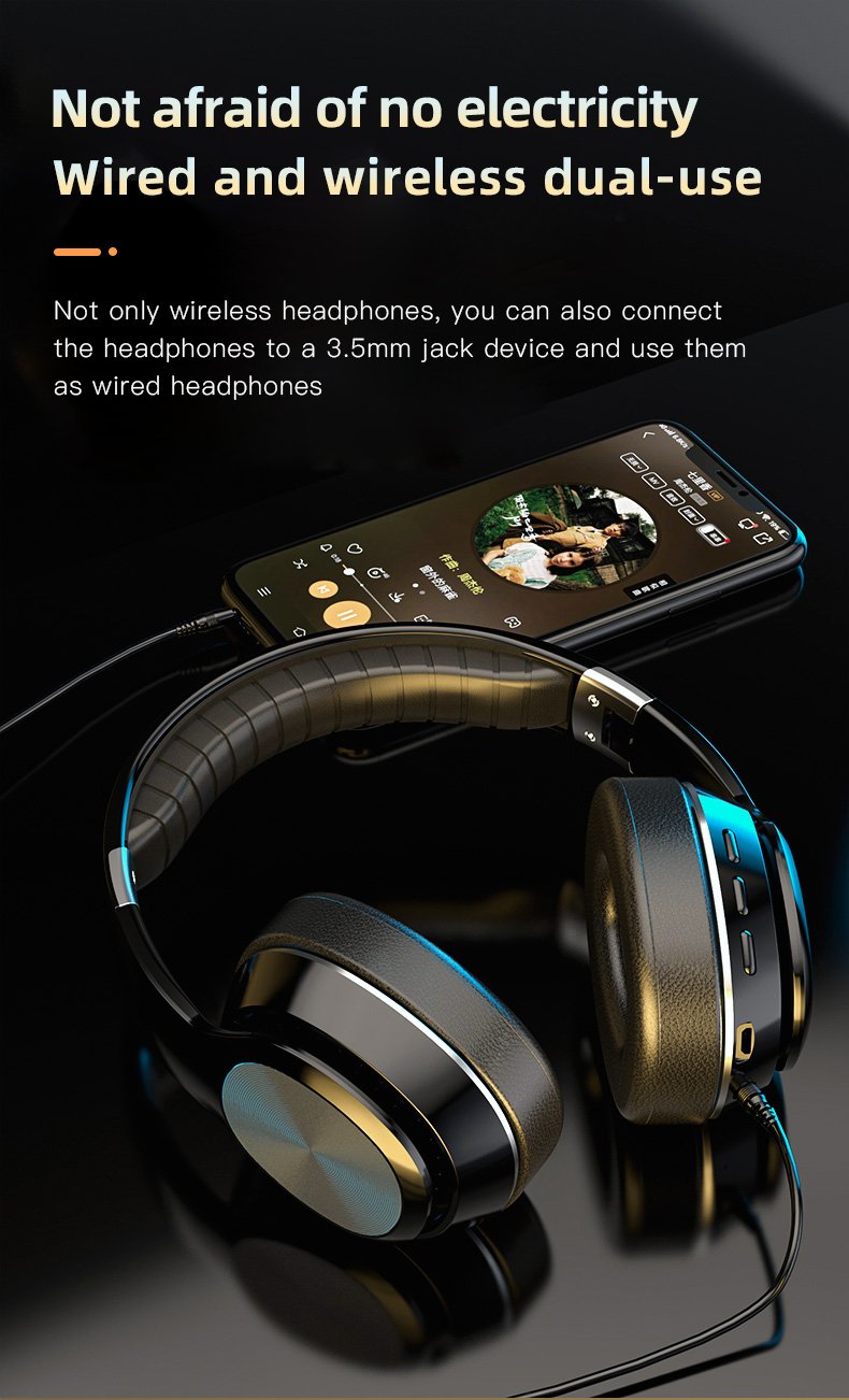 HiFi Wireless Headphones Bluetooth Foldable Headset Support TF Card/FM Radio/Bluetooth AUX Stereo Headset With Mic Deep Bass 5