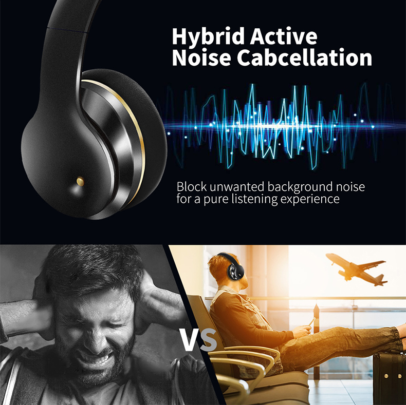 Newest ANC Bluetooth Headset Active Noise Cancelling Bluetooth Headphones Over Ear Stereo Bass Foldable Headphones With Mic 8