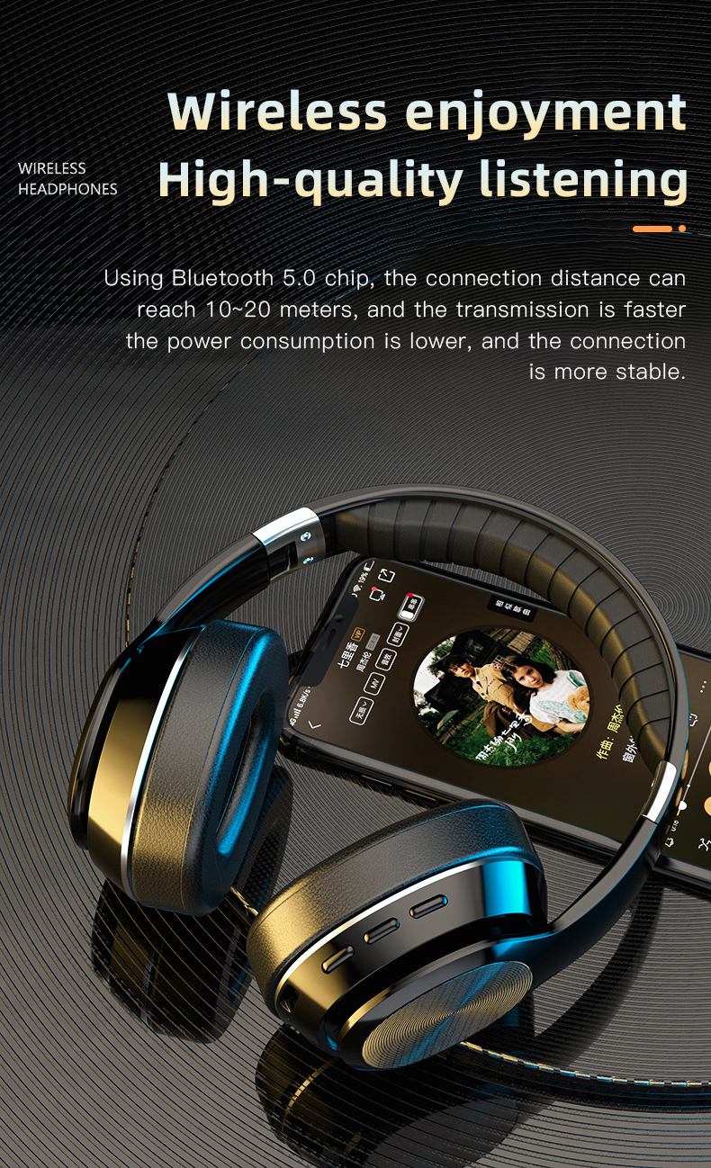 HiFi Wireless Headphones Bluetooth Foldable Headset Support TF Card/FM Radio/Bluetooth AUX Stereo Headset With Mic Deep Bass 4