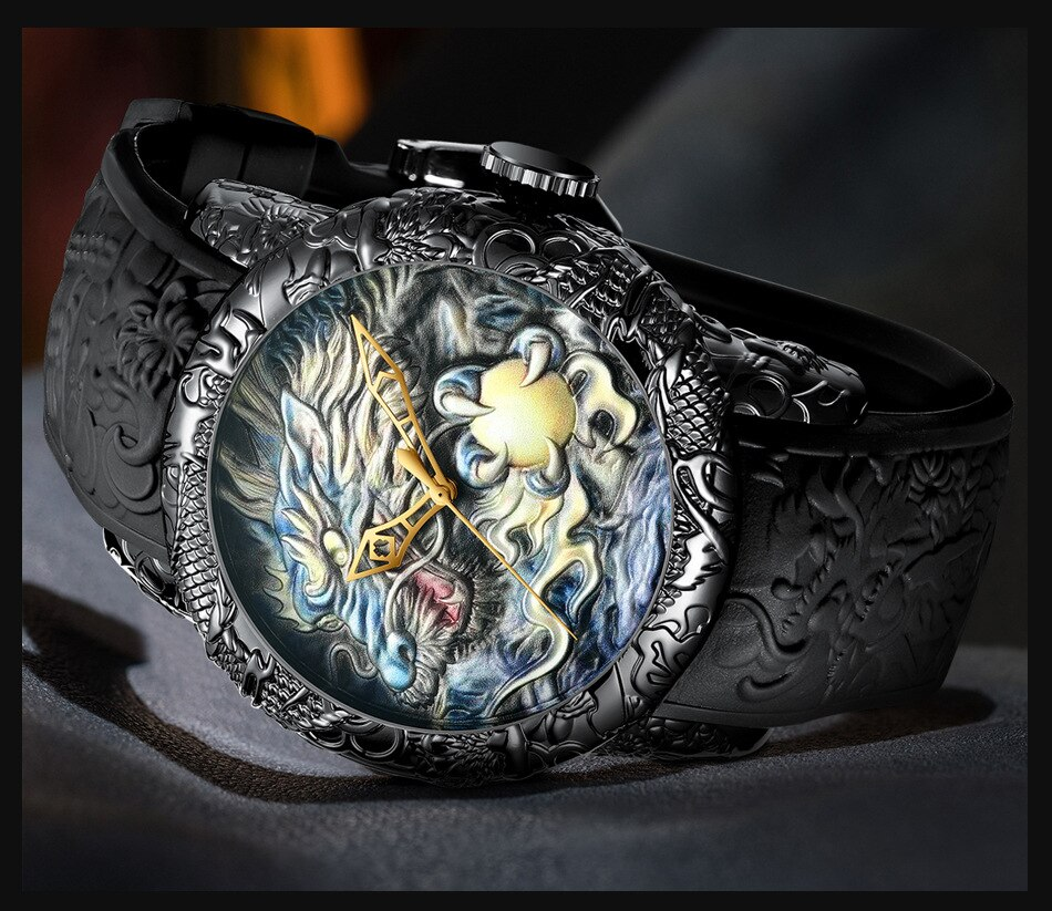 Luxury Fashion Dragon Design Quartz Watch BIDEN Men Silicone Strap Waterproof Wristwatch Sport Male Clock Relogio Masculino 1