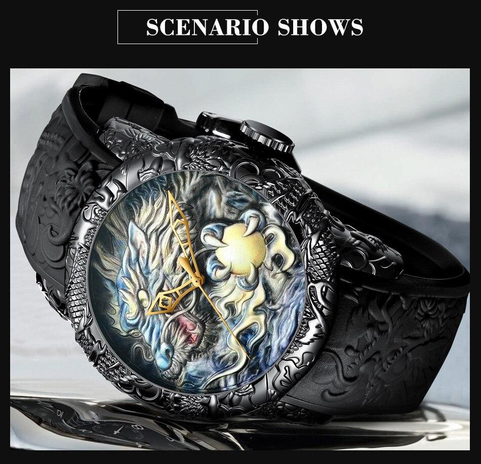 Luxury Fashion Dragon Design Quartz Watch BIDEN Men Silicone Strap Waterproof Wristwatch Sport Male Clock Relogio Masculino 11