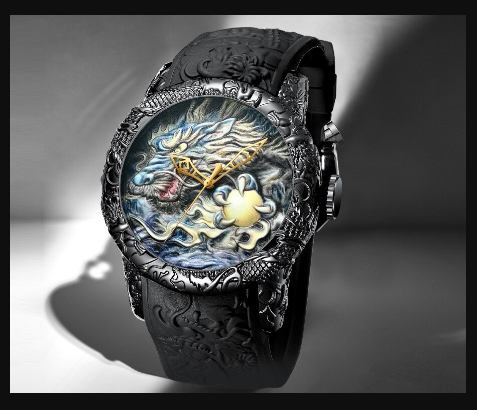 Luxury Fashion Dragon Design Quartz Watch BIDEN Men Silicone Strap Waterproof Wristwatch Sport Male Clock Relogio Masculino 15